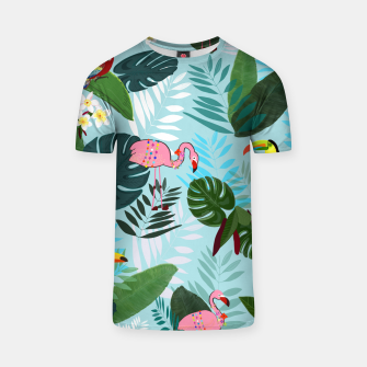 Thumbnail image of Tropical leaves Flamingo, toucan and parrot. Exotic pattern T-shirt, Live Heroes