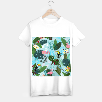 Thumbnail image of Tropical leaves Flamingo, toucan and parrot. Exotic pattern T-shirt regular, Live Heroes