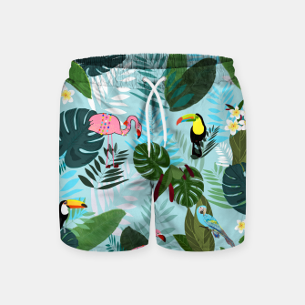 Thumbnail image of Tropical leaves Flamingo, toucan and parrot. Exotic pattern Swim Shorts, Live Heroes