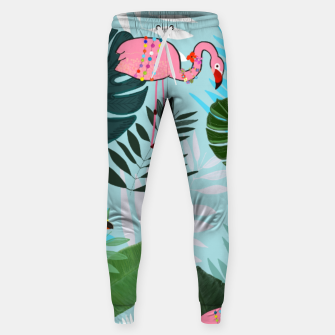 Thumbnail image of Tropical leaves Flamingo, toucan and parrot. Exotic pattern Sweatpants, Live Heroes