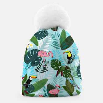 Thumbnail image of Tropical leaves Flamingo, toucan and parrot. Exotic pattern Beanie, Live Heroes