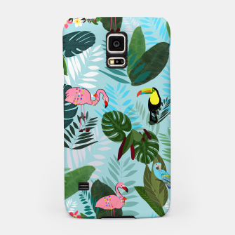 Thumbnail image of Tropical leaves Flamingo, toucan and parrot. Exotic pattern Samsung Case, Live Heroes