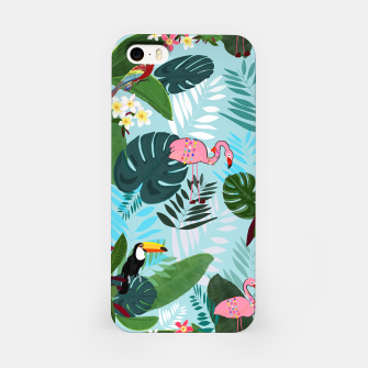 Thumbnail image of Tropical leaves Flamingo, toucan and parrot. Exotic pattern iPhone Case, Live Heroes