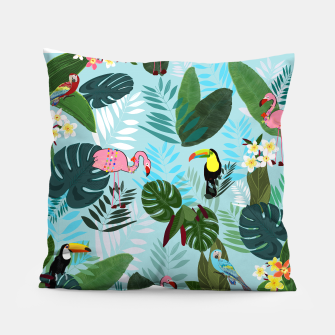 Thumbnail image of Tropical leaves Flamingo, toucan and parrot. Exotic pattern Pillow, Live Heroes