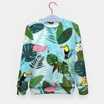 Thumbnail image of Tropical leaves Flamingo, toucan and parrot. Exotic pattern Kid's sweater, Live Heroes