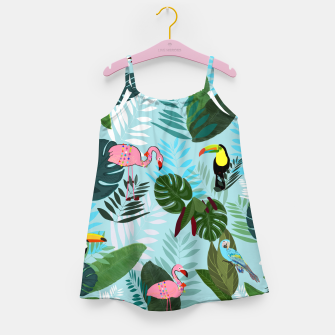 Miniature de image de Tropical leaves Flamingo, toucan and parrot. Exotic pattern Girl's dress, Live Heroes