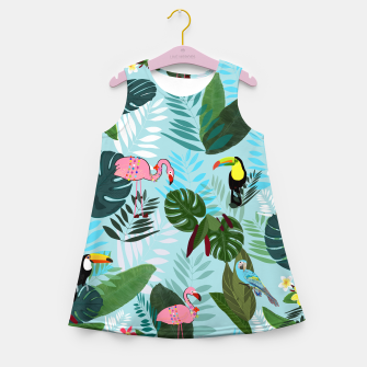 Miniature de image de Tropical leaves Flamingo, toucan and parrot. Exotic pattern Girl's summer dress, Live Heroes