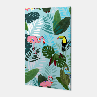 Miniature de image de Tropical leaves Flamingo, toucan and parrot. Exotic pattern Canvas, Live Heroes