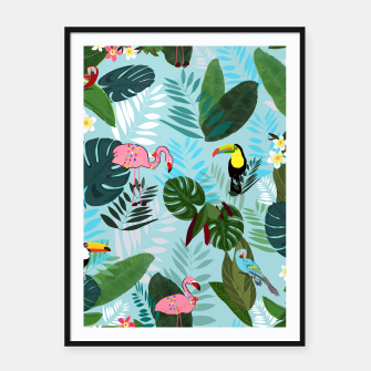 Miniature de image de Tropical leaves Flamingo, toucan and parrot. Exotic pattern Framed poster, Live Heroes