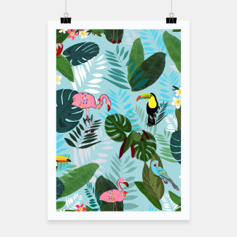 Miniature de image de Tropical leaves Flamingo, toucan and parrot. Exotic pattern Poster, Live Heroes