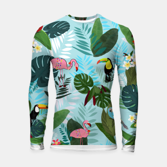 Miniature de image de Tropical leaves Flamingo, toucan and parrot. Exotic pattern Longsleeve rashguard , Live Heroes