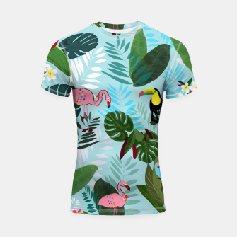 Miniature de image de Tropical leaves Flamingo, toucan and parrot. Exotic pattern Shortsleeve rashguard, Live Heroes