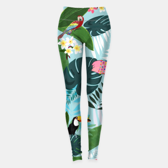 Miniature de image de Tropical leaves Flamingo, toucan and parrot. Exotic pattern Leggings, Live Heroes