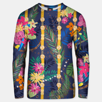 Thumbnail image of Tropical flowers golden belt and chain vibrant colored trendy Unisex sweater, Live Heroes