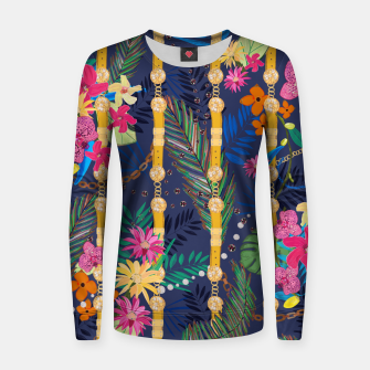 Miniatur Tropical flowers golden belt and chain vibrant colored trendy Women sweater, Live Heroes