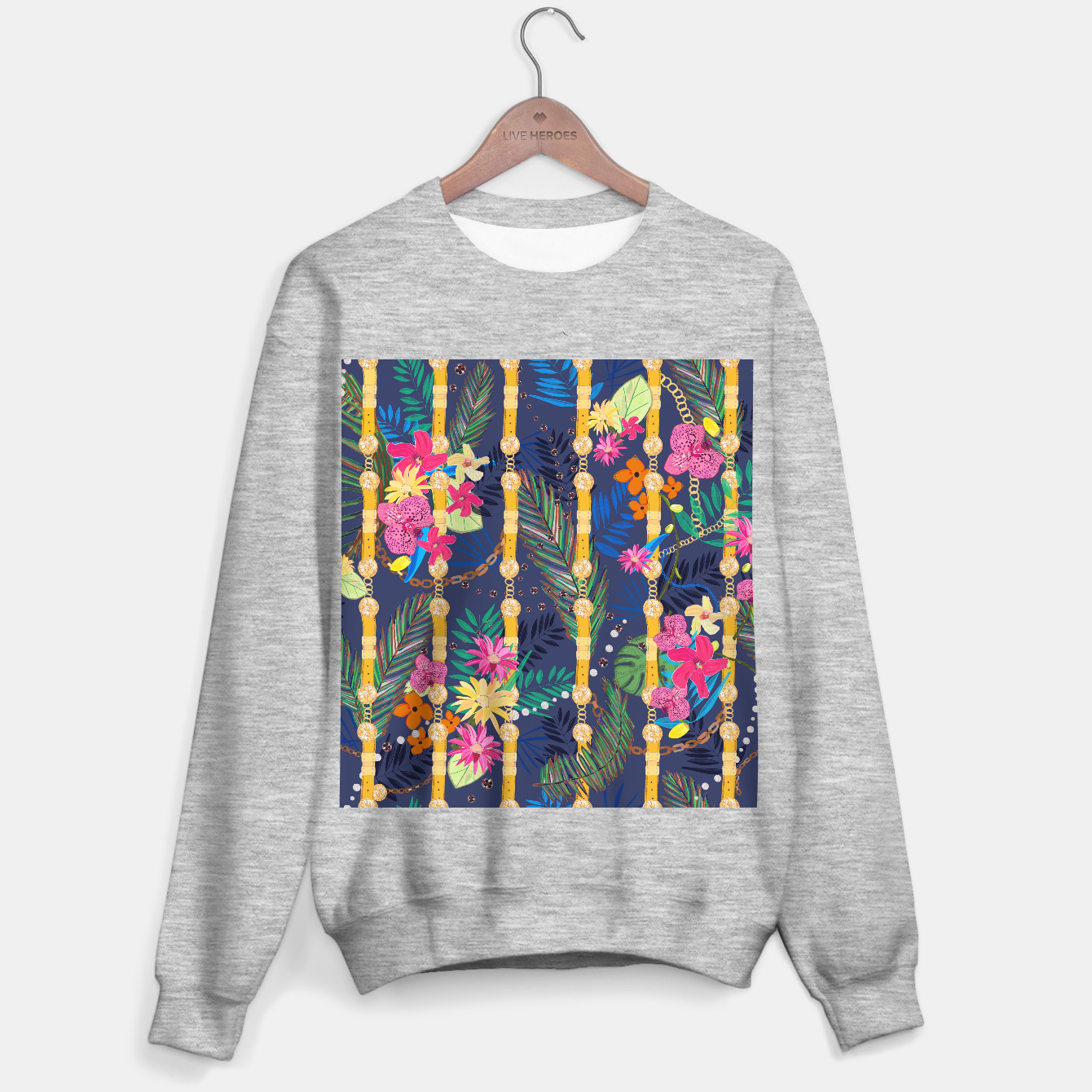 Zdjęcie Tropical flowers golden belt and chain vibrant colored trendy Sweater regular - Live Heroes