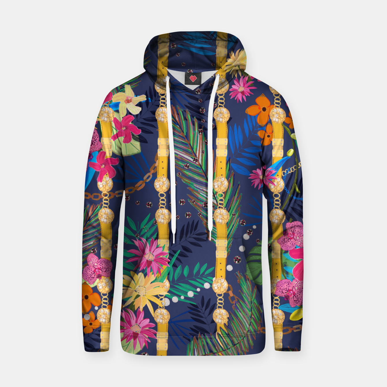 Zdjęcie Tropical flowers golden belt and chain vibrant colored trendy Hoodie - Live Heroes