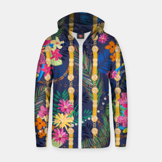 Thumbnail image of Tropical flowers golden belt and chain vibrant colored trendy Zip up hoodie, Live Heroes
