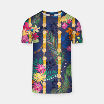 Thumbnail image of Tropical flowers golden belt and chain vibrant colored trendy T-shirt, Live Heroes