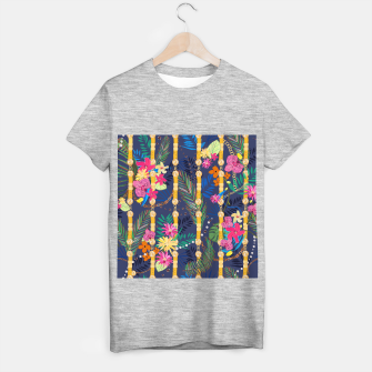 Thumbnail image of Tropical flowers golden belt and chain vibrant colored trendy T-shirt regular, Live Heroes