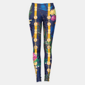 Thumbnail image of Tropical flowers golden belt and chain vibrant colored trendy Leggings, Live Heroes