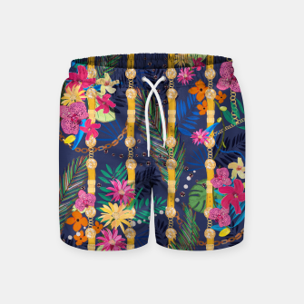 Miniatur Tropical flowers golden belt and chain vibrant colored trendy Swim Shorts, Live Heroes