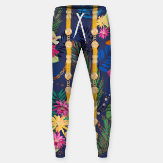 Miniaturka Tropical flowers golden belt and chain vibrant colored trendy Sweatpants, Live Heroes