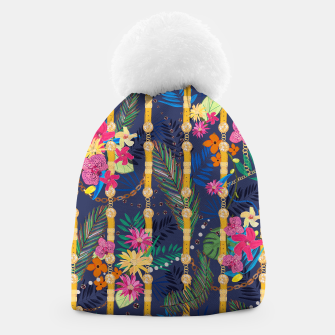 Thumbnail image of Tropical flowers golden belt and chain vibrant colored trendy Beanie, Live Heroes