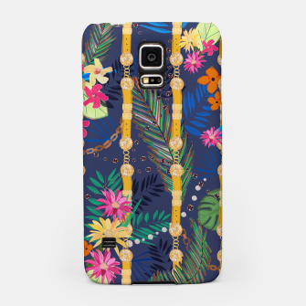 Miniaturka Tropical flowers golden belt and chain vibrant colored trendy Samsung Case, Live Heroes