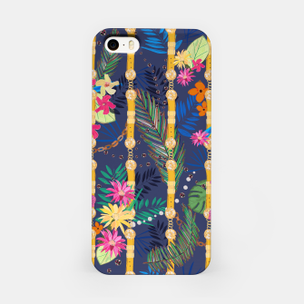 Thumbnail image of Tropical flowers golden belt and chain vibrant colored trendy iPhone Case, Live Heroes