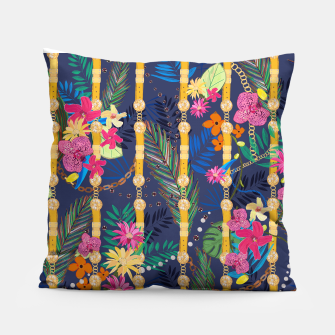 Miniatur Tropical flowers golden belt and chain vibrant colored trendy Pillow, Live Heroes