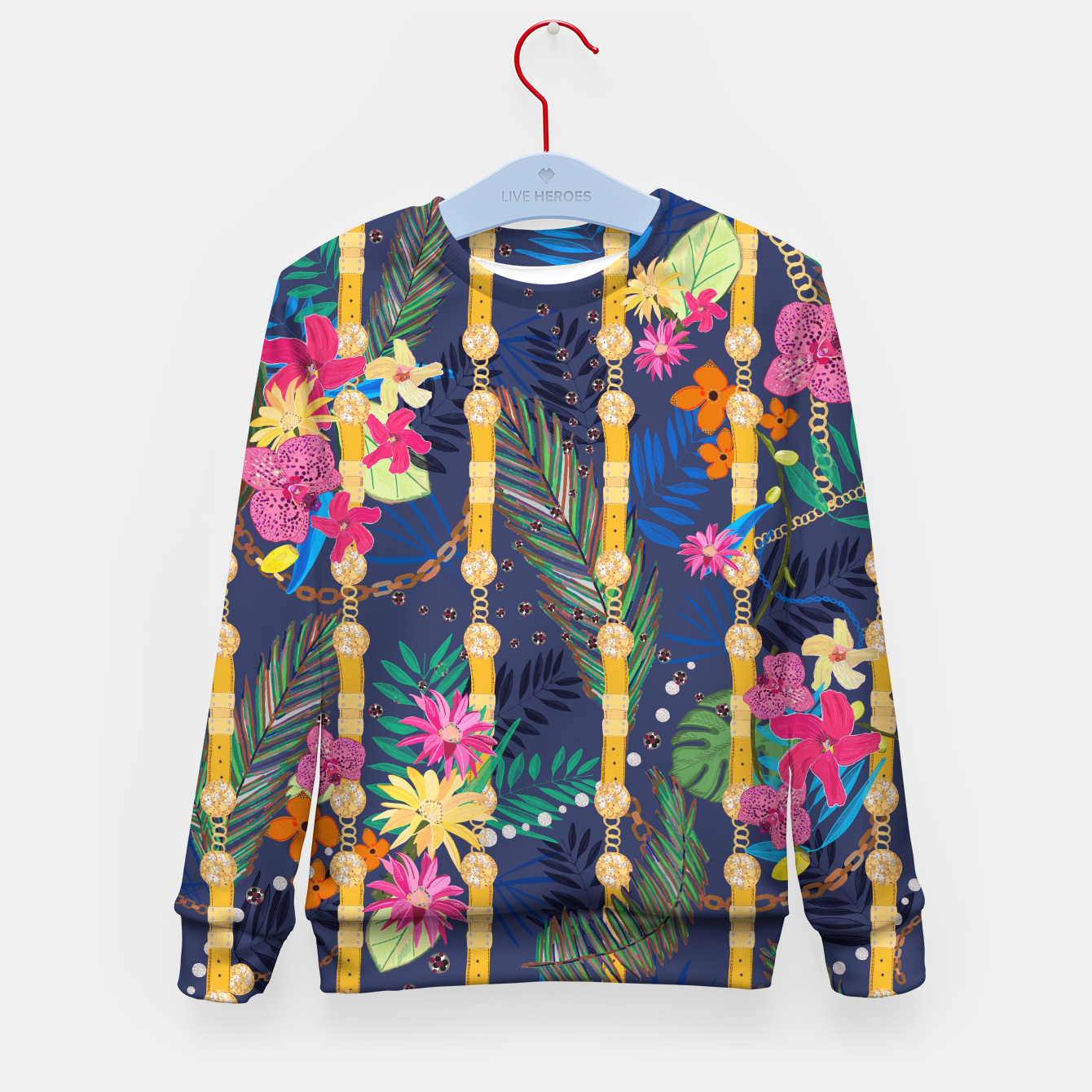 Foto Tropical flowers golden belt and chain vibrant colored trendy Kid's sweater - Live Heroes