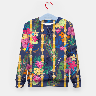 Thumbnail image of Tropical flowers golden belt and chain vibrant colored trendy Kid's sweater, Live Heroes
