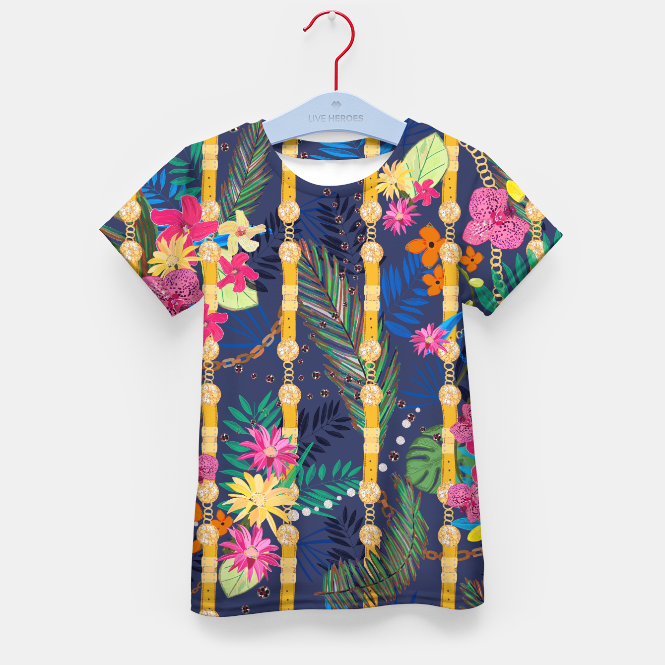 Zdjęcie Tropical flowers golden belt and chain vibrant colored trendy Kid's t-shirt - Live Heroes