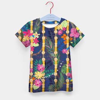 Miniature de image de Tropical flowers golden belt and chain vibrant colored trendy Kid's t-shirt, Live Heroes