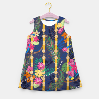 Miniatur Tropical flowers golden belt and chain vibrant colored trendy Girl's summer dress, Live Heroes