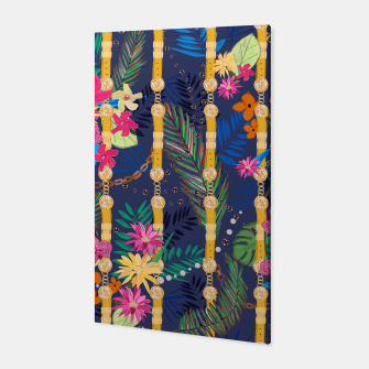 Thumbnail image of Tropical flowers golden belt and chain vibrant colored trendy Canvas, Live Heroes