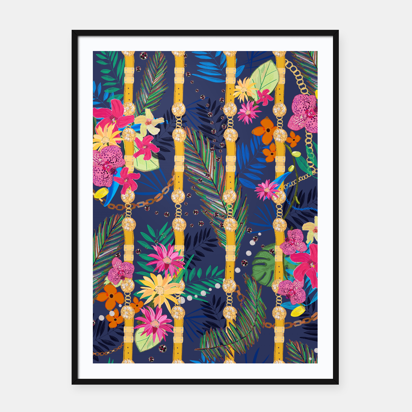 Zdjęcie Tropical flowers golden belt and chain vibrant colored trendy Framed poster - Live Heroes
