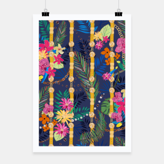 Thumbnail image of Tropical flowers golden belt and chain vibrant colored trendy Poster, Live Heroes