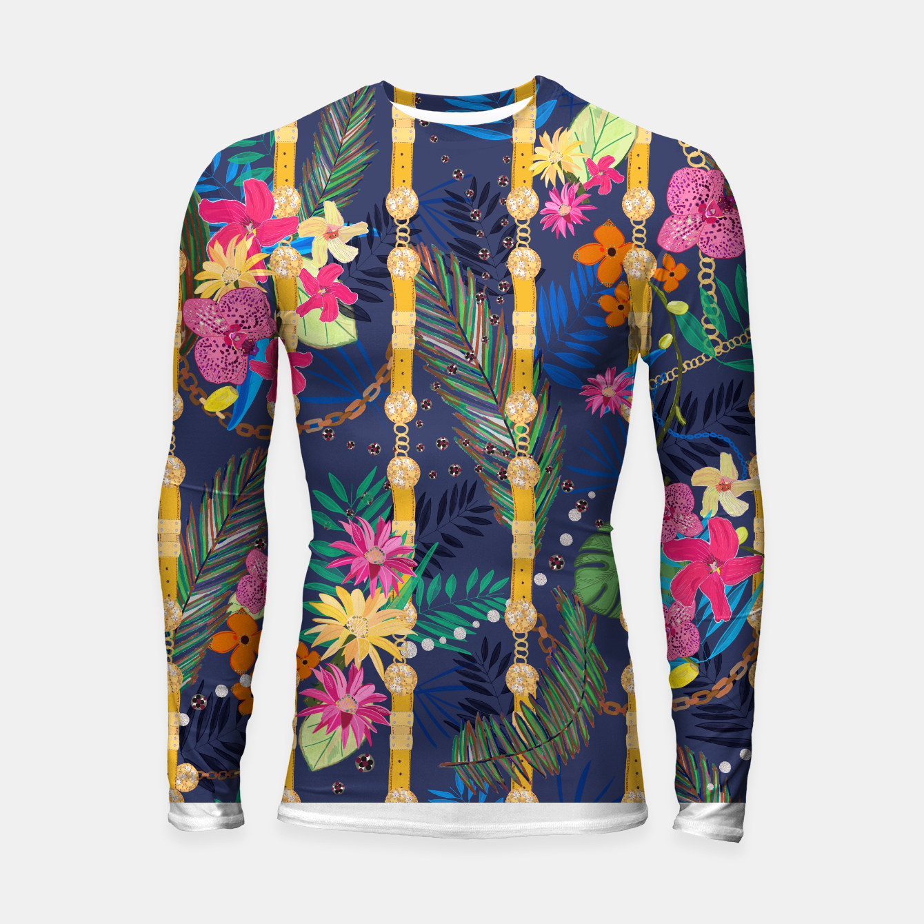 Zdjęcie Tropical flowers golden belt and chain vibrant colored trendy Longsleeve rashguard  - Live Heroes