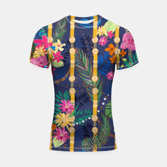 Thumbnail image of Tropical flowers golden belt and chain vibrant colored trendy Shortsleeve rashguard, Live Heroes