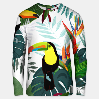 Thumbnail image of Taucan and bird of paradise flowers Tropical Forest colorful summer pattern Unisex sweater, Live Heroes