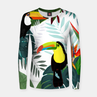 Thumbnail image of Taucan and bird of paradise flowers Tropical Forest colorful summer pattern Women sweater, Live Heroes