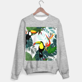 Thumbnail image of Taucan and bird of paradise flowers Tropical Forest colorful summer pattern Sweater regular, Live Heroes