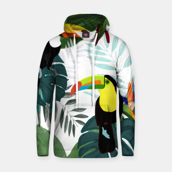 Thumbnail image of Taucan and bird of paradise flowers Tropical Forest colorful summer pattern Hoodie, Live Heroes