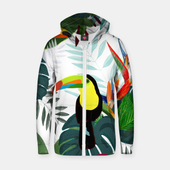 Thumbnail image of Taucan and bird of paradise flowers Tropical Forest colorful summer pattern Zip up hoodie, Live Heroes