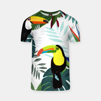 Thumbnail image of Taucan and bird of paradise flowers Tropical Forest colorful summer pattern T-shirt, Live Heroes