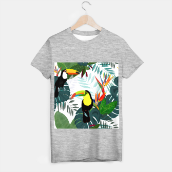 Thumbnail image of Taucan and bird of paradise flowers Tropical Forest colorful summer pattern T-shirt regular, Live Heroes