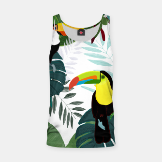 Thumbnail image of Taucan and bird of paradise flowers Tropical Forest colorful summer pattern Tank Top, Live Heroes
