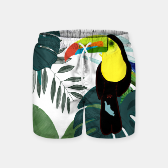 Thumbnail image of Taucan and bird of paradise flowers Tropical Forest colorful summer pattern Swim Shorts, Live Heroes